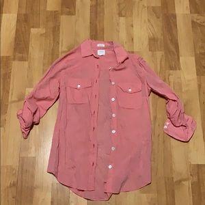 J Crew perfect fit size XXS cotton orange shirt.